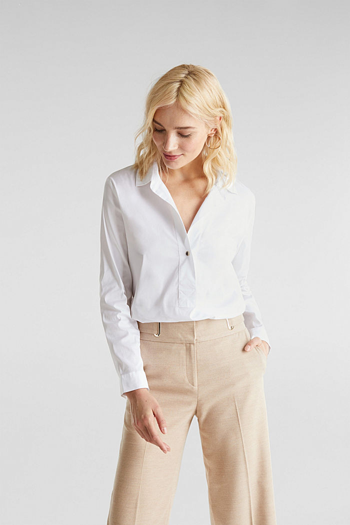 Stretchblouse met een langer achterpand, WHITE, detail image number 0