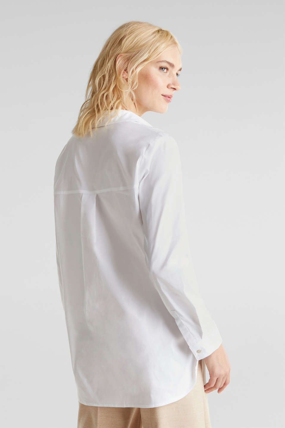 Slip-on stretch blouse with a high-low hem, WHITE, detail image number 3