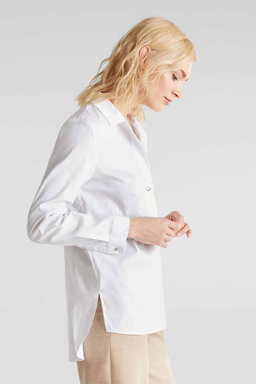 Slip-on stretch blouse with a high-low hem