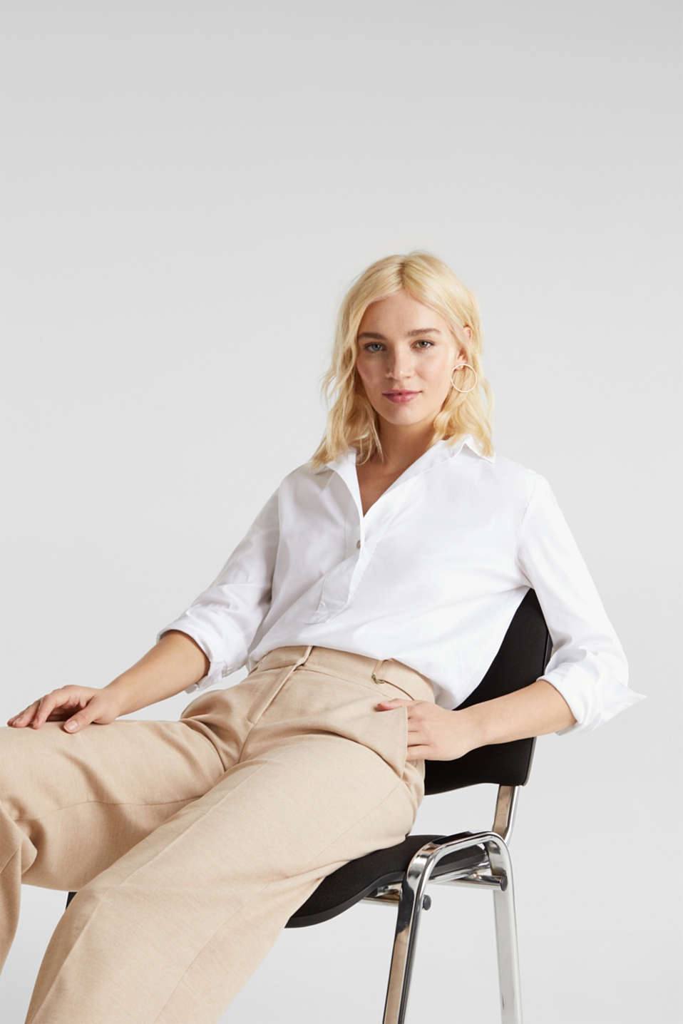 Slip-on stretch blouse with a high-low hem, WHITE, detail image number 6