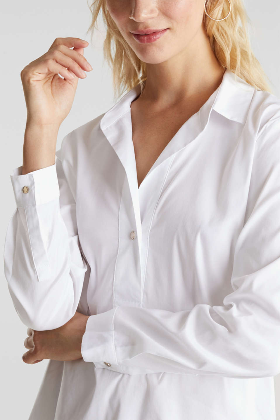Slip-on stretch blouse with a high-low hem, WHITE, detail image number 2