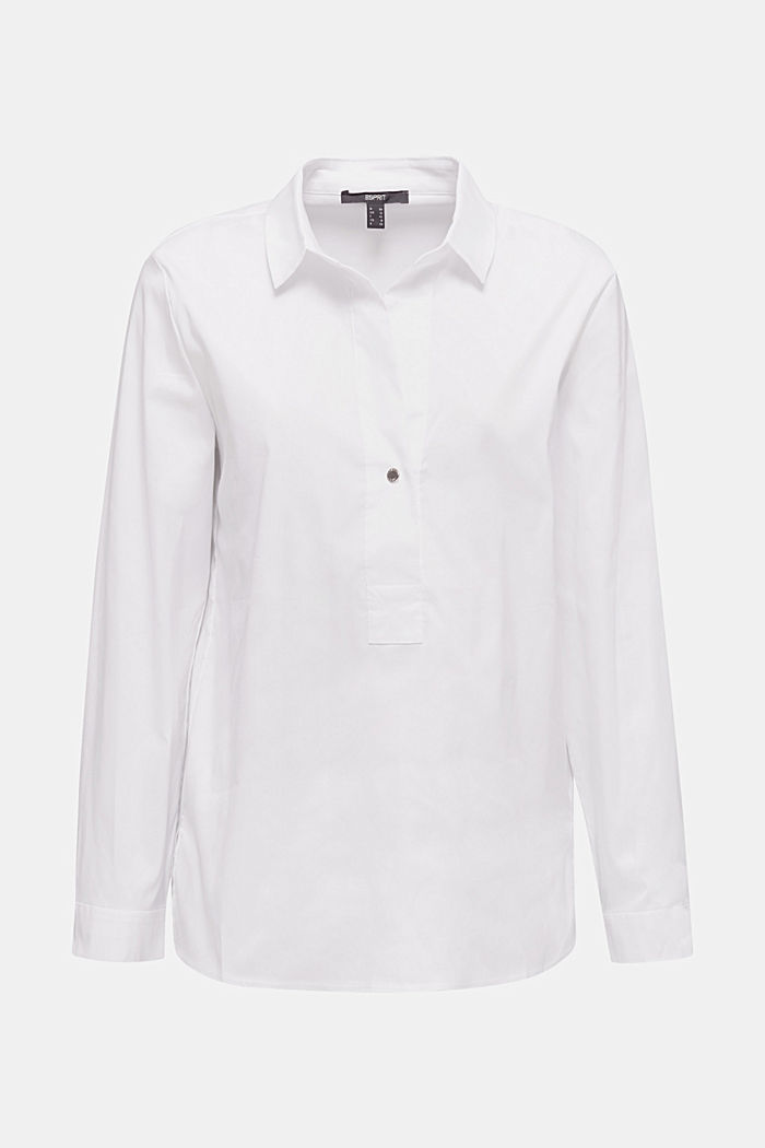 Stretchblouse met een langer achterpand, WHITE, detail image number 7