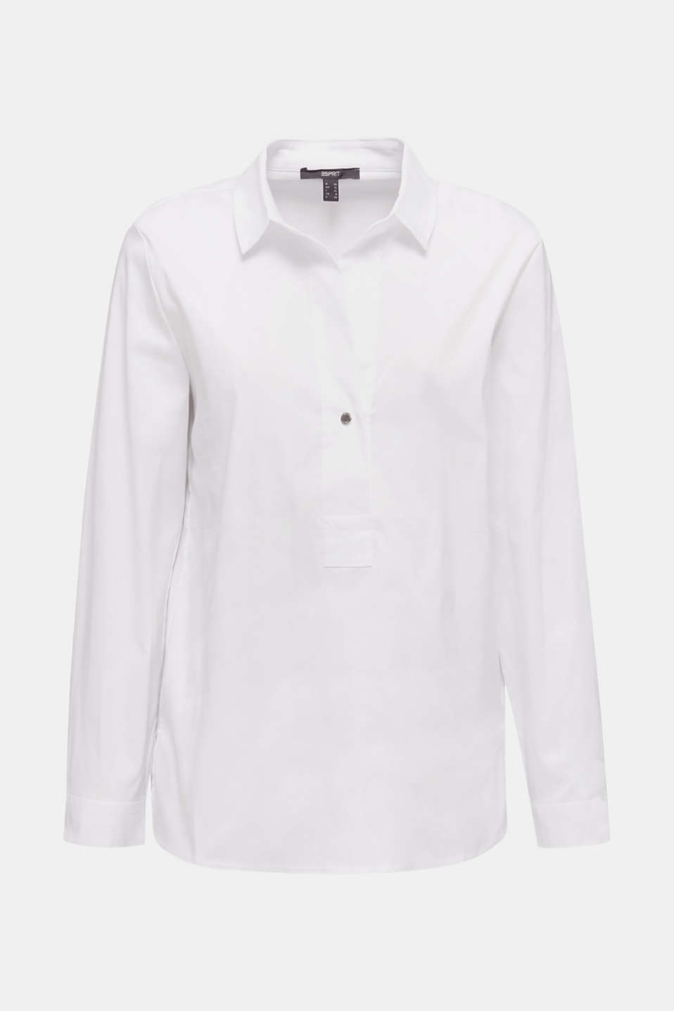 Slip-on stretch blouse with a high-low hem, WHITE, detail image number 7