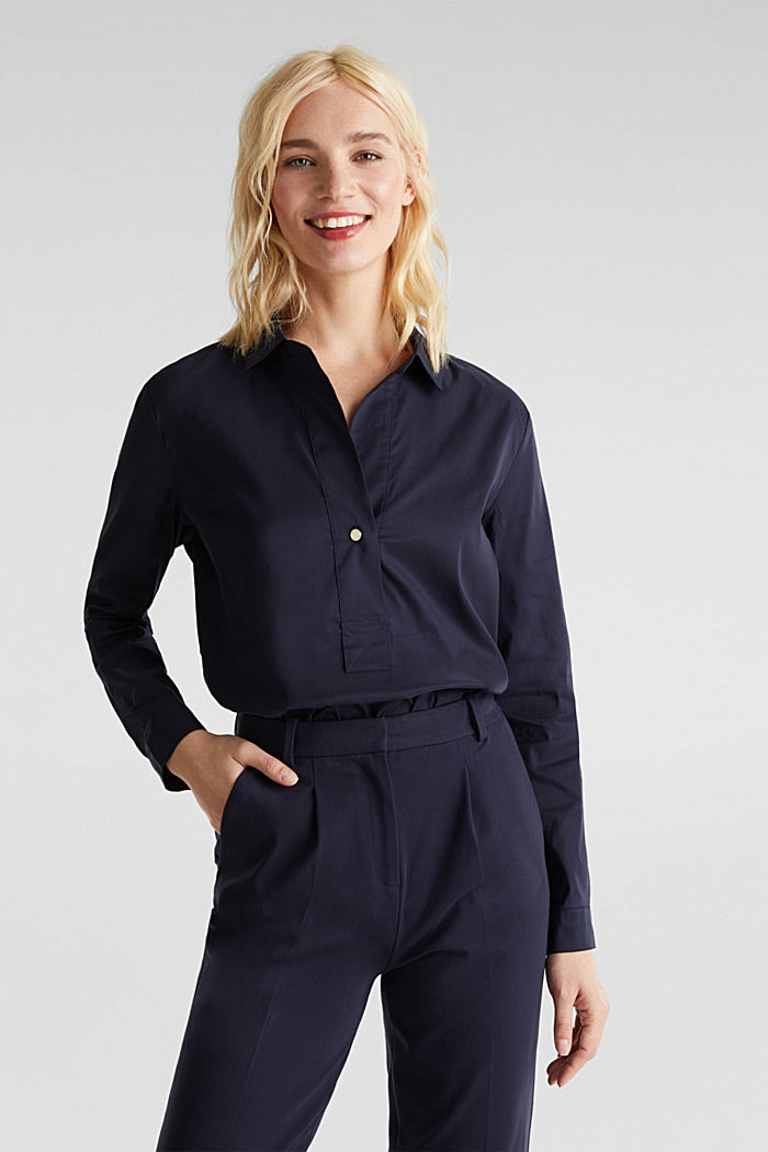 Slip-on stretch blouse with a high-low hem, NAVY, detail image number 0