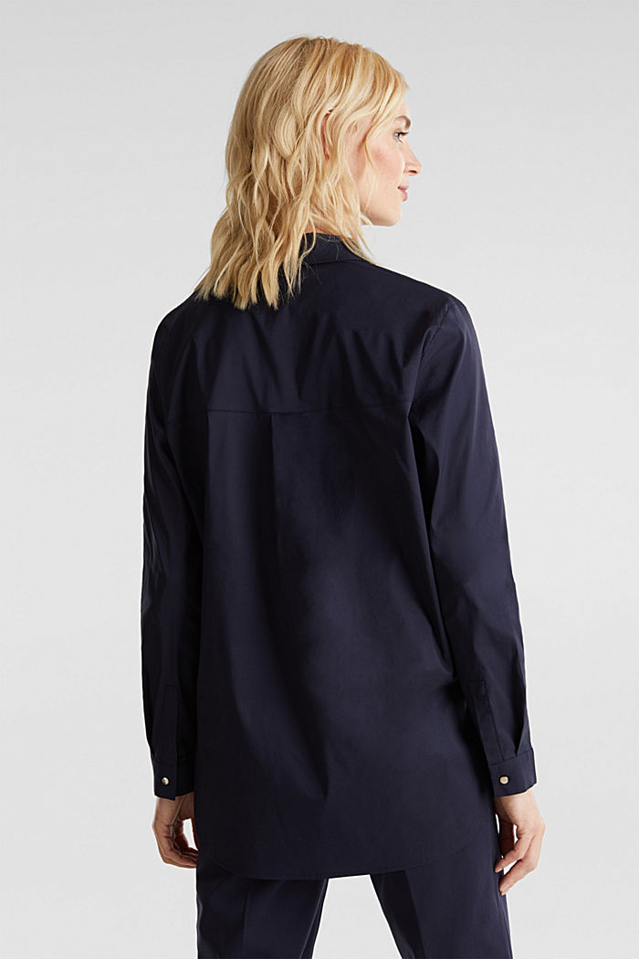 Slip-on stretch blouse with a high-low hem, NAVY, detail image number 2
