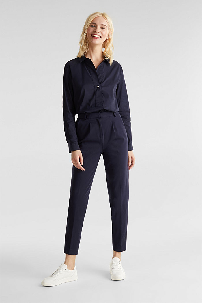 Slip-on stretch blouse with a high-low hem, NAVY, detail image number 6