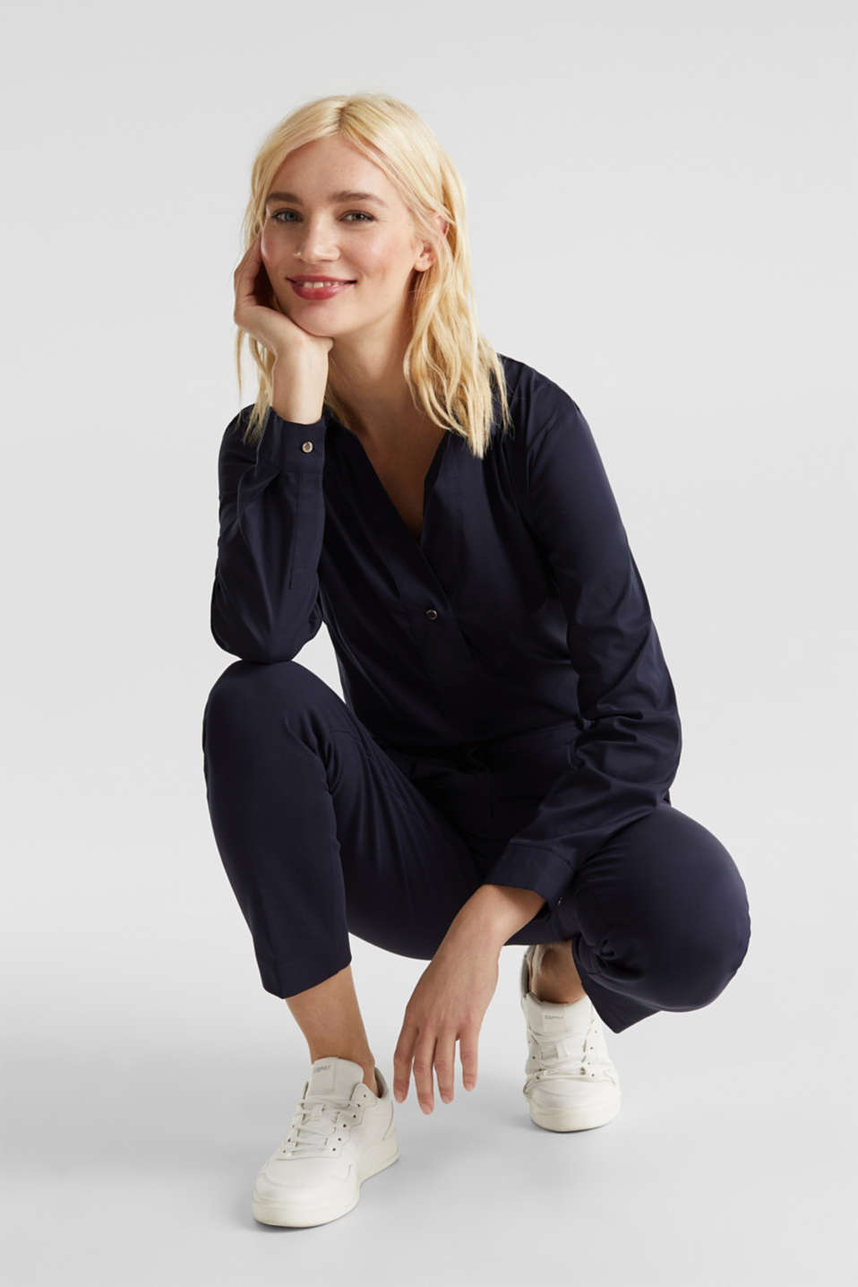 Slip-on stretch blouse with a high-low hem, NAVY, detail image number 1