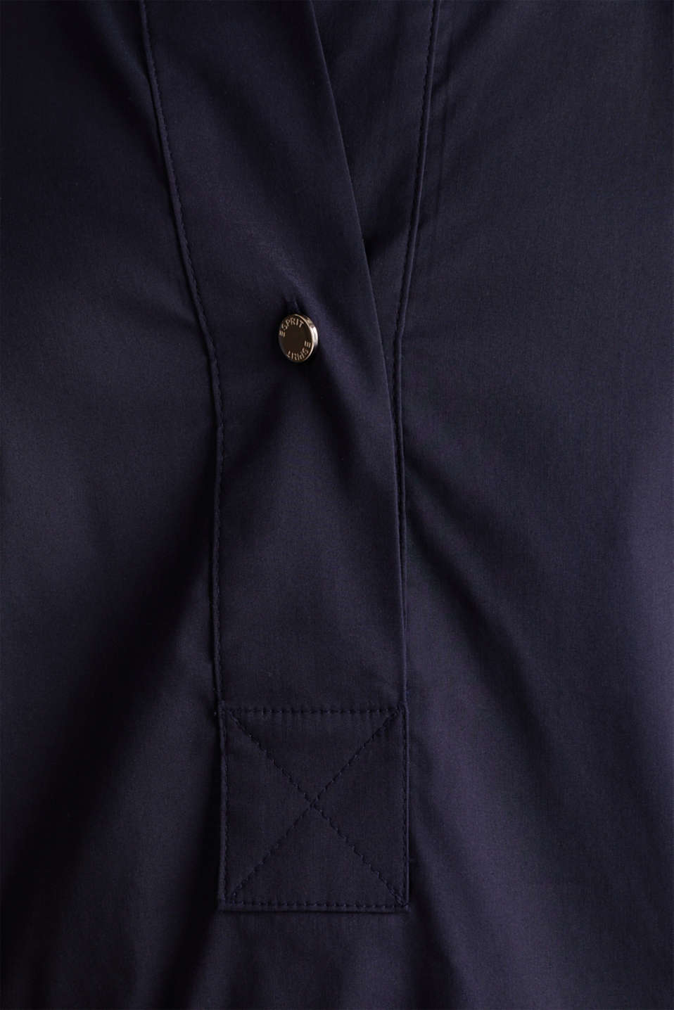 Slip-on stretch blouse with a high-low hem, NAVY, detail image number 3
