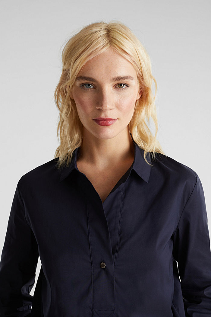 Slip-on stretch blouse with a high-low hem, NAVY, detail image number 7