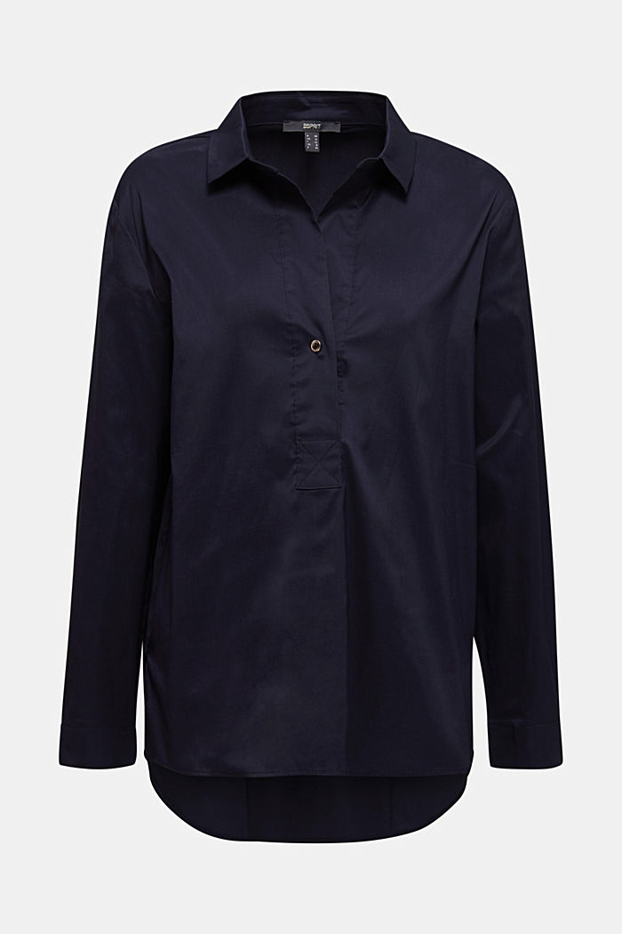 Slip-on stretch blouse with a high-low hem, NAVY, detail image number 8