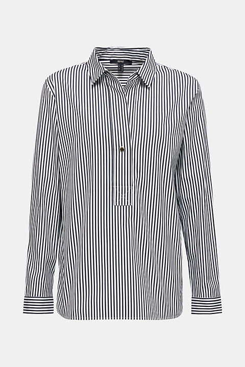 Striped slip-on blouse with stretch