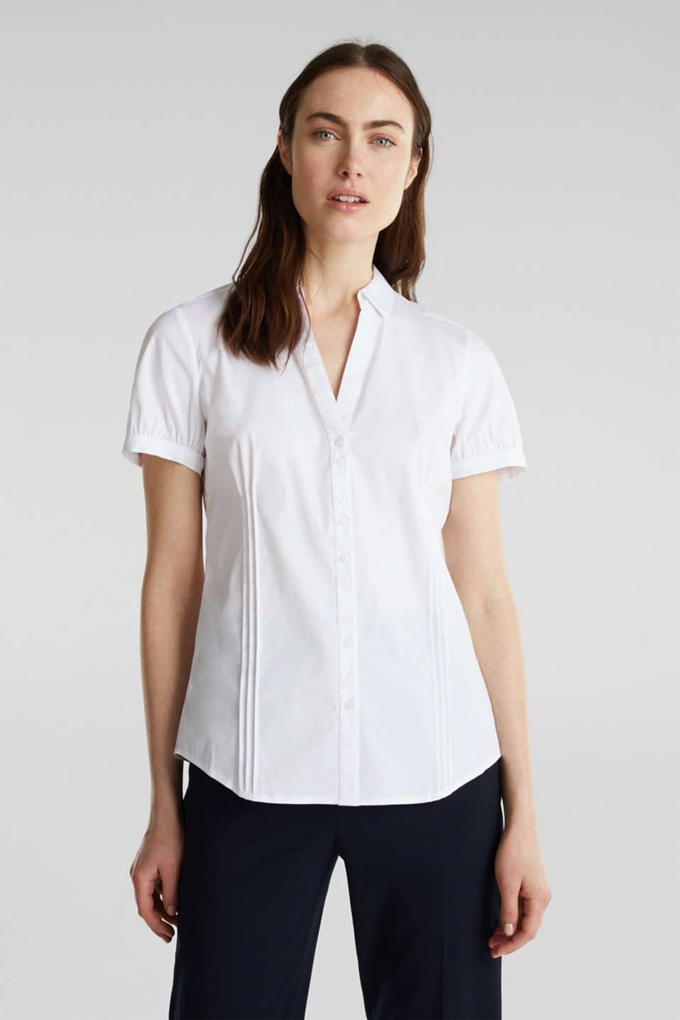 Stretch blouse with puff sleeves, WHITE, detail image number 0