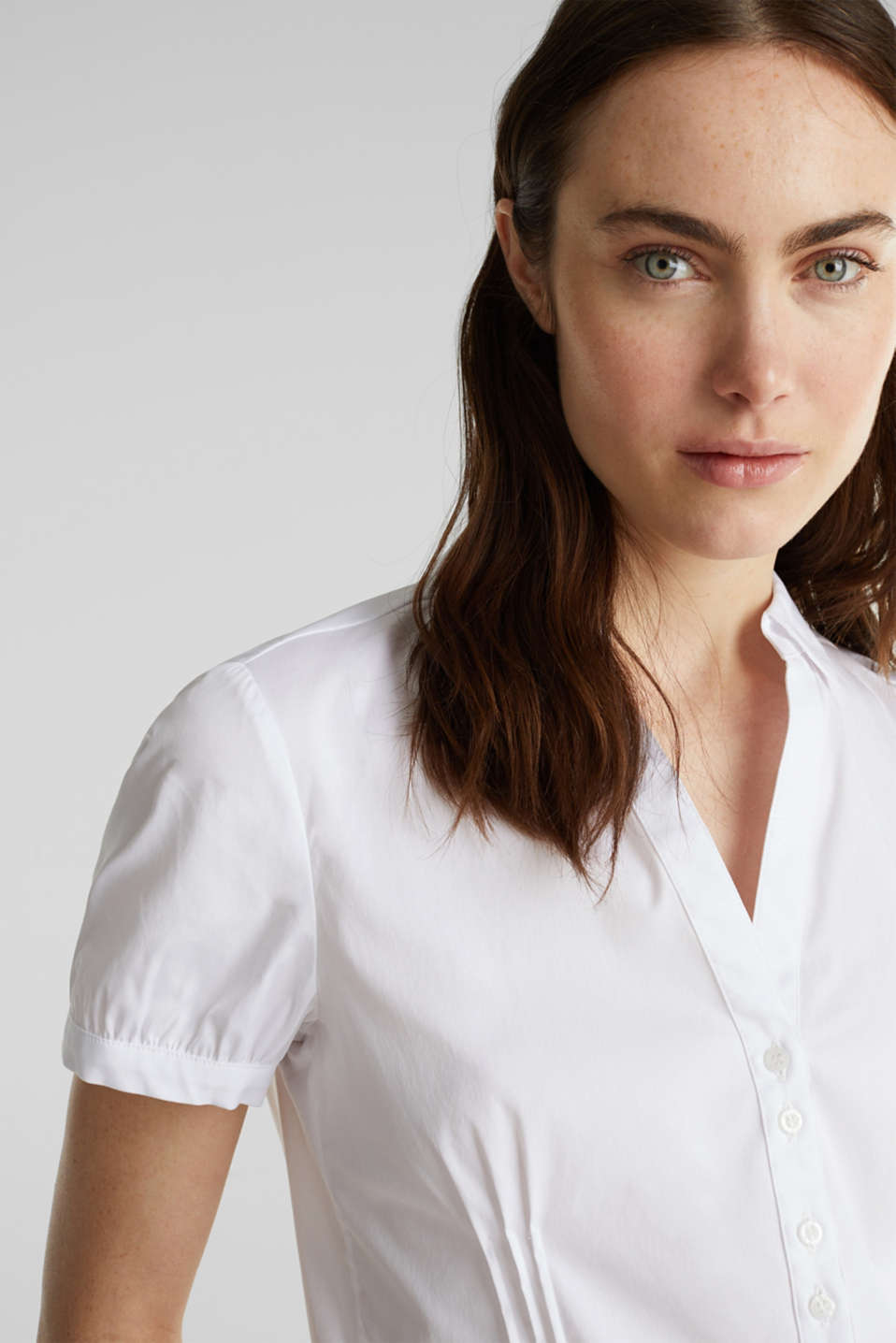 Stretch blouse with puff sleeves, WHITE, detail image number 5