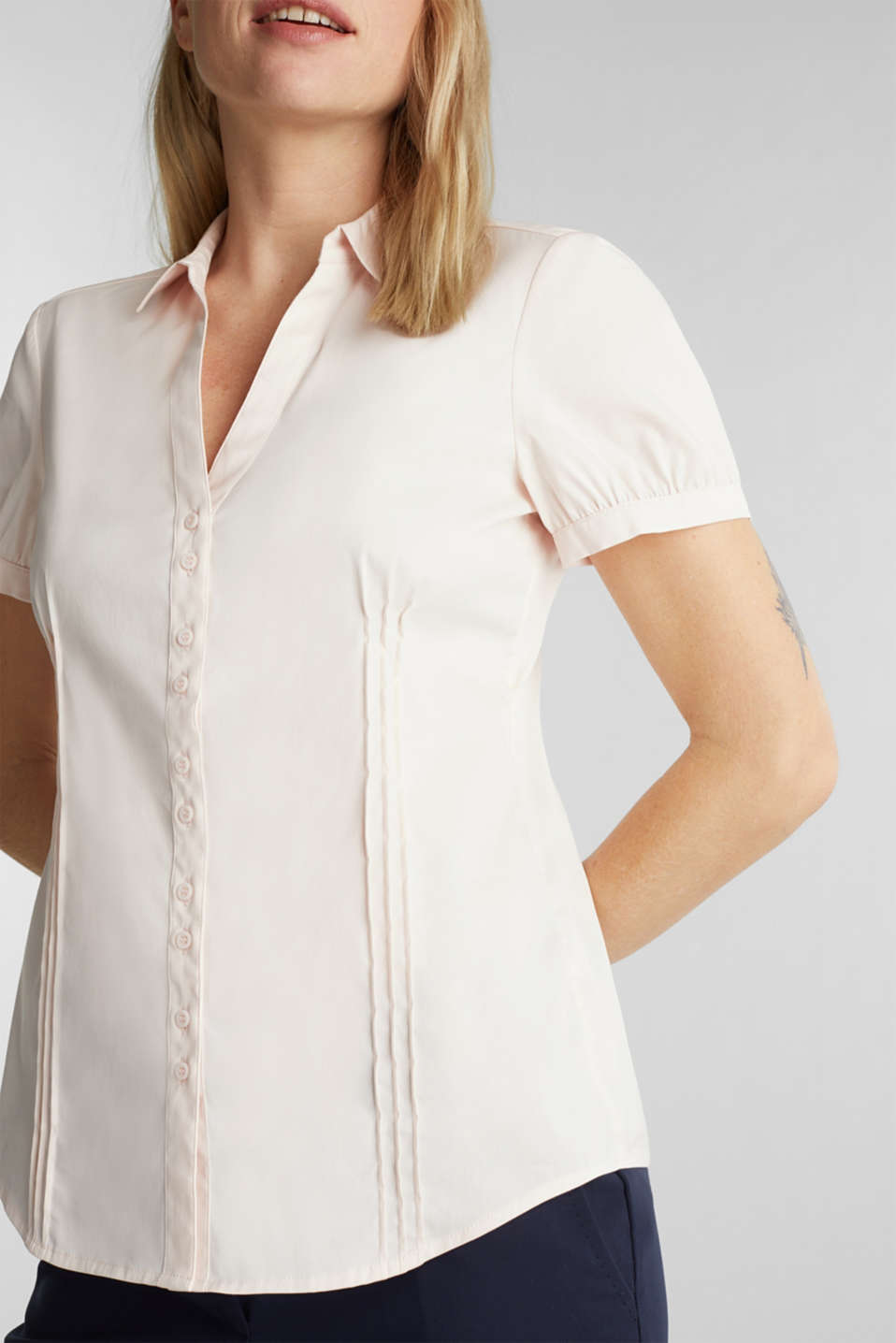 Stretch blouse with puff sleeves, LIGHT PINK, detail image number 2