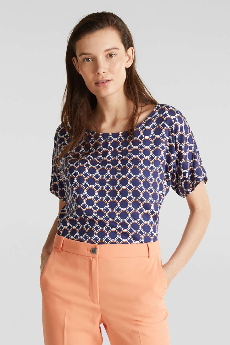 Blouse top with a graphic print, NAVY 3, detail image number 0