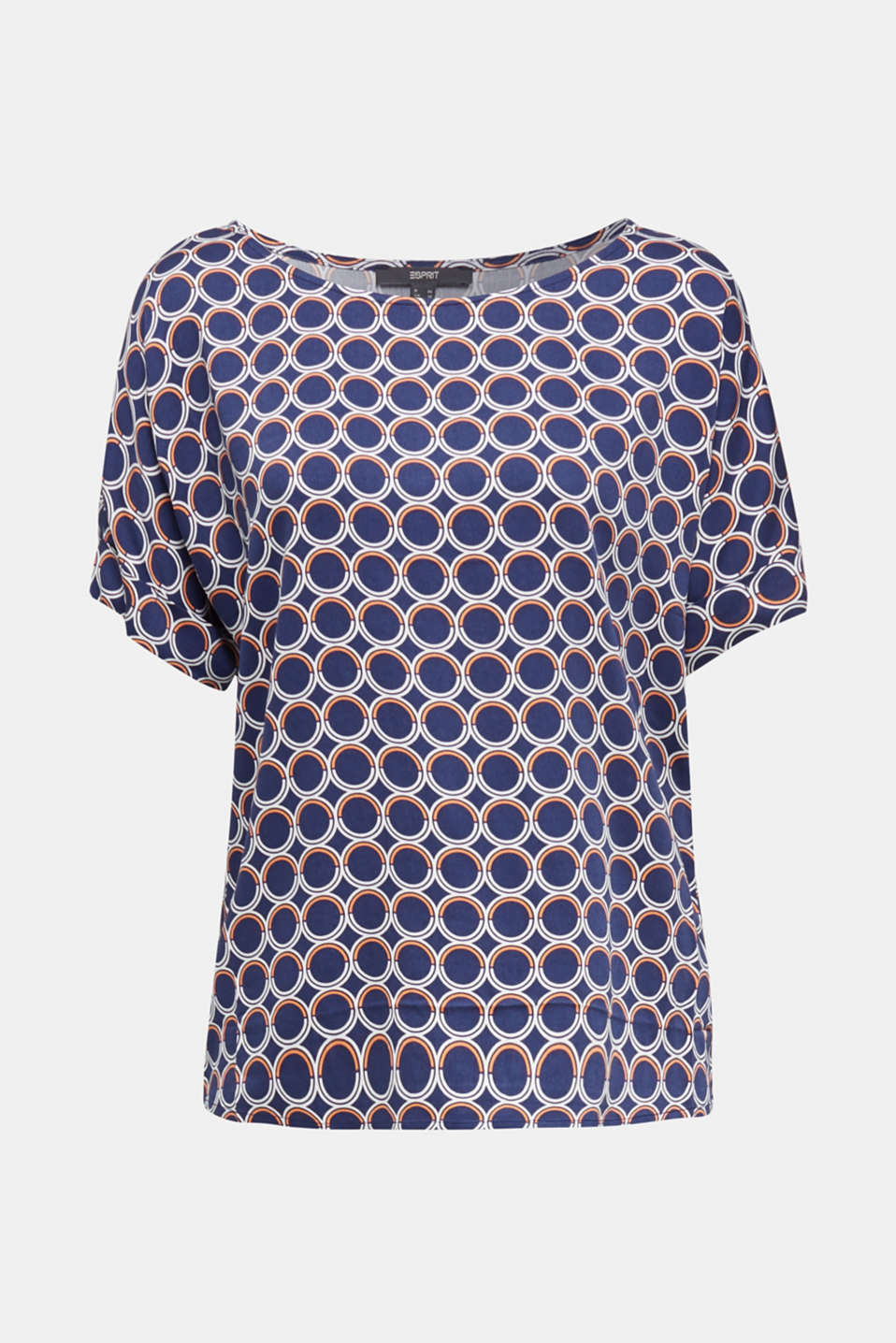 Blouse top with a graphic print, NAVY 3, detail image number 8