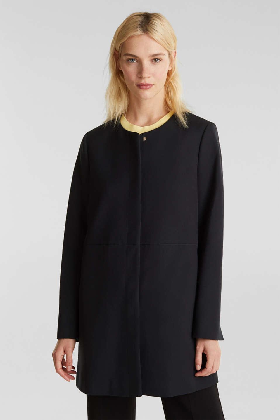 Coat with piqué texture, BLACK, detail image number 0