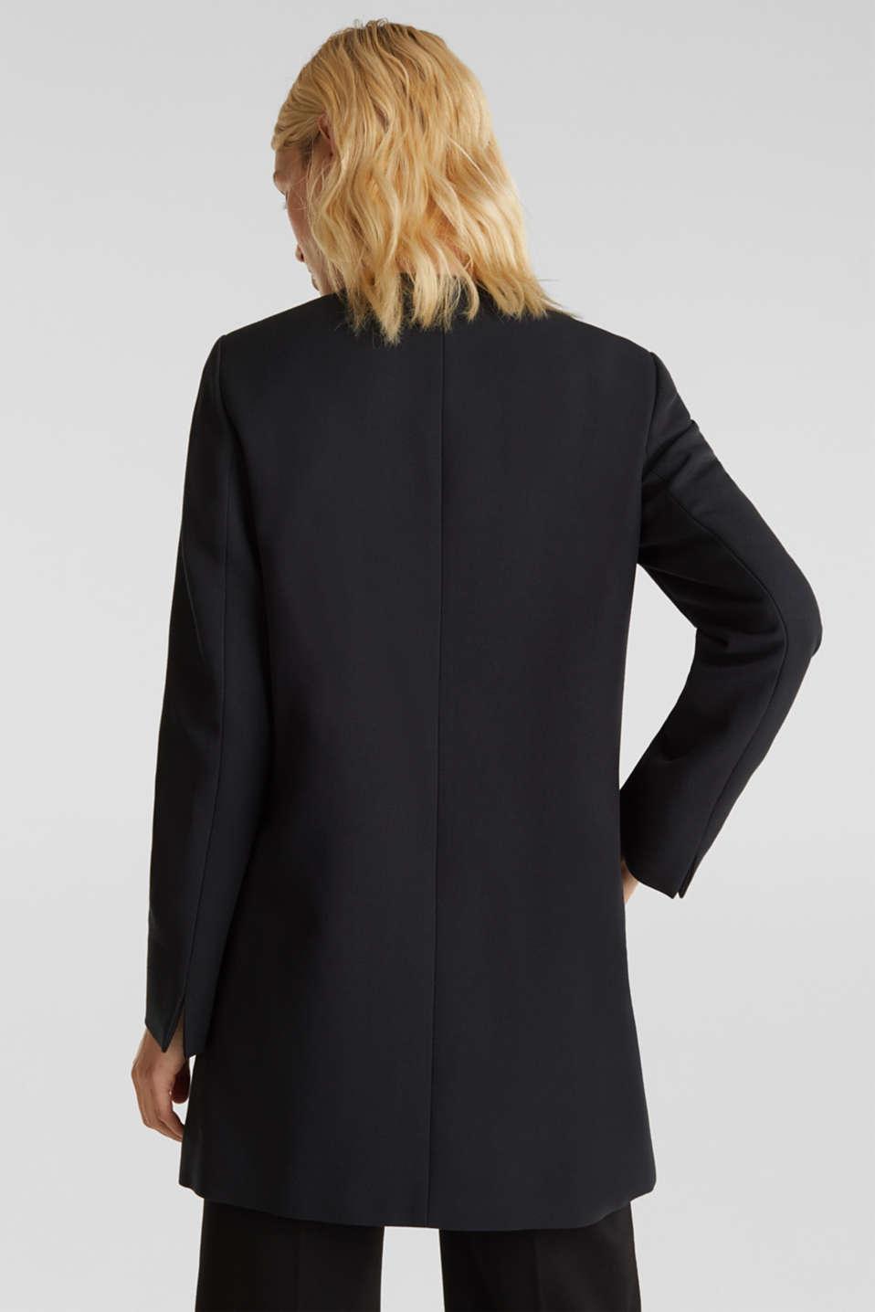 Coat with piqué texture, BLACK, detail image number 2
