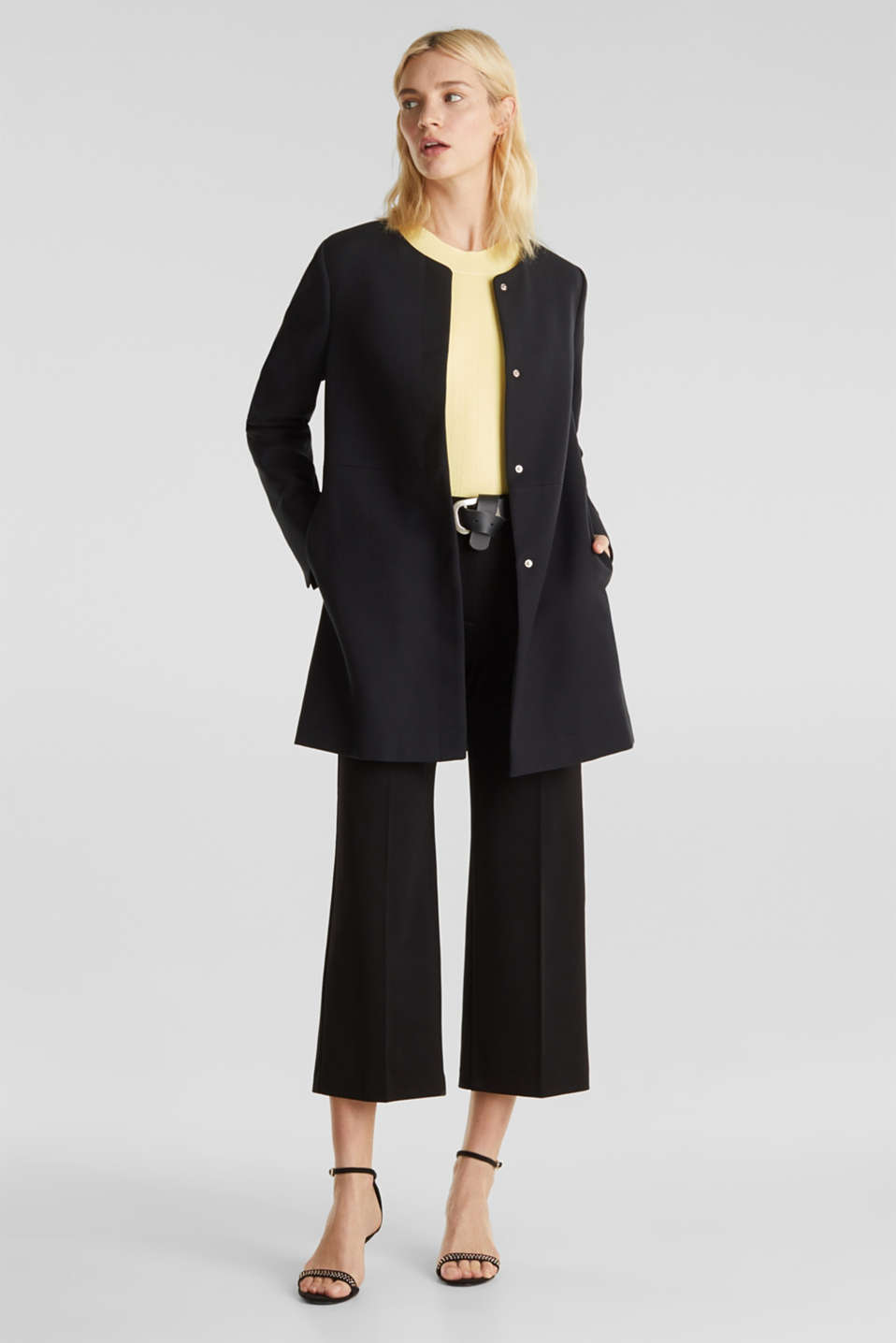Coat with piqué texture, BLACK, detail image number 1