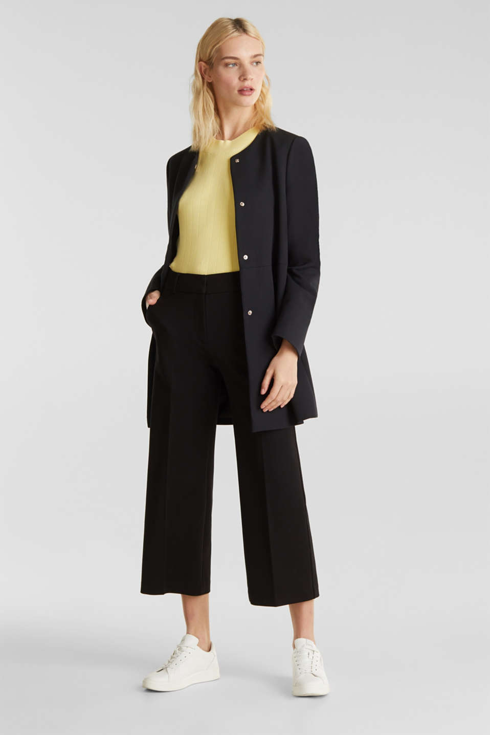 Coat with piqué texture, BLACK, detail image number 5