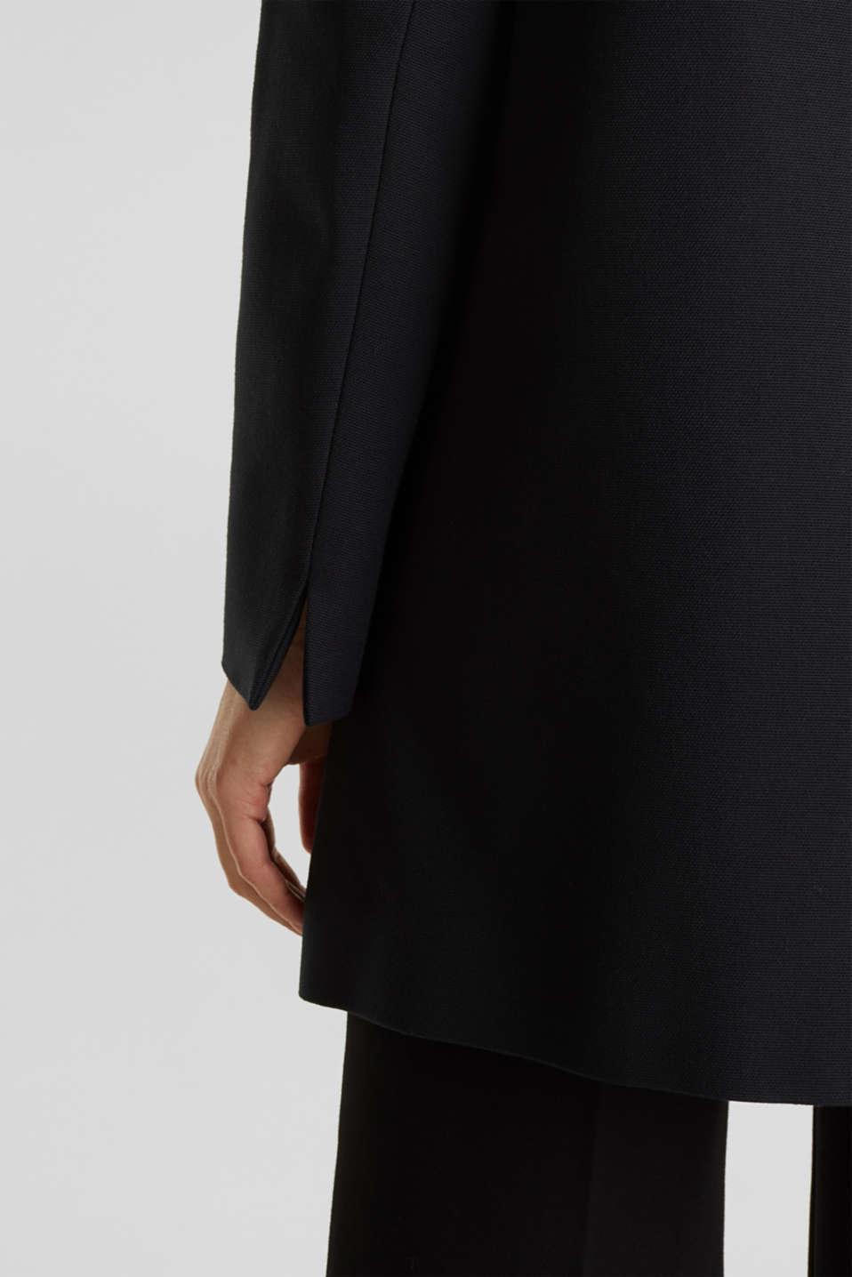 Coat with piqué texture, BLACK, detail image number 4