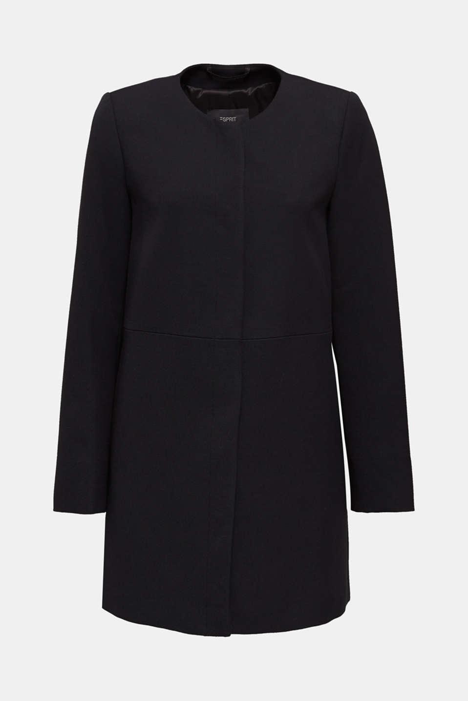 Coat with piqué texture, BLACK, detail image number 6