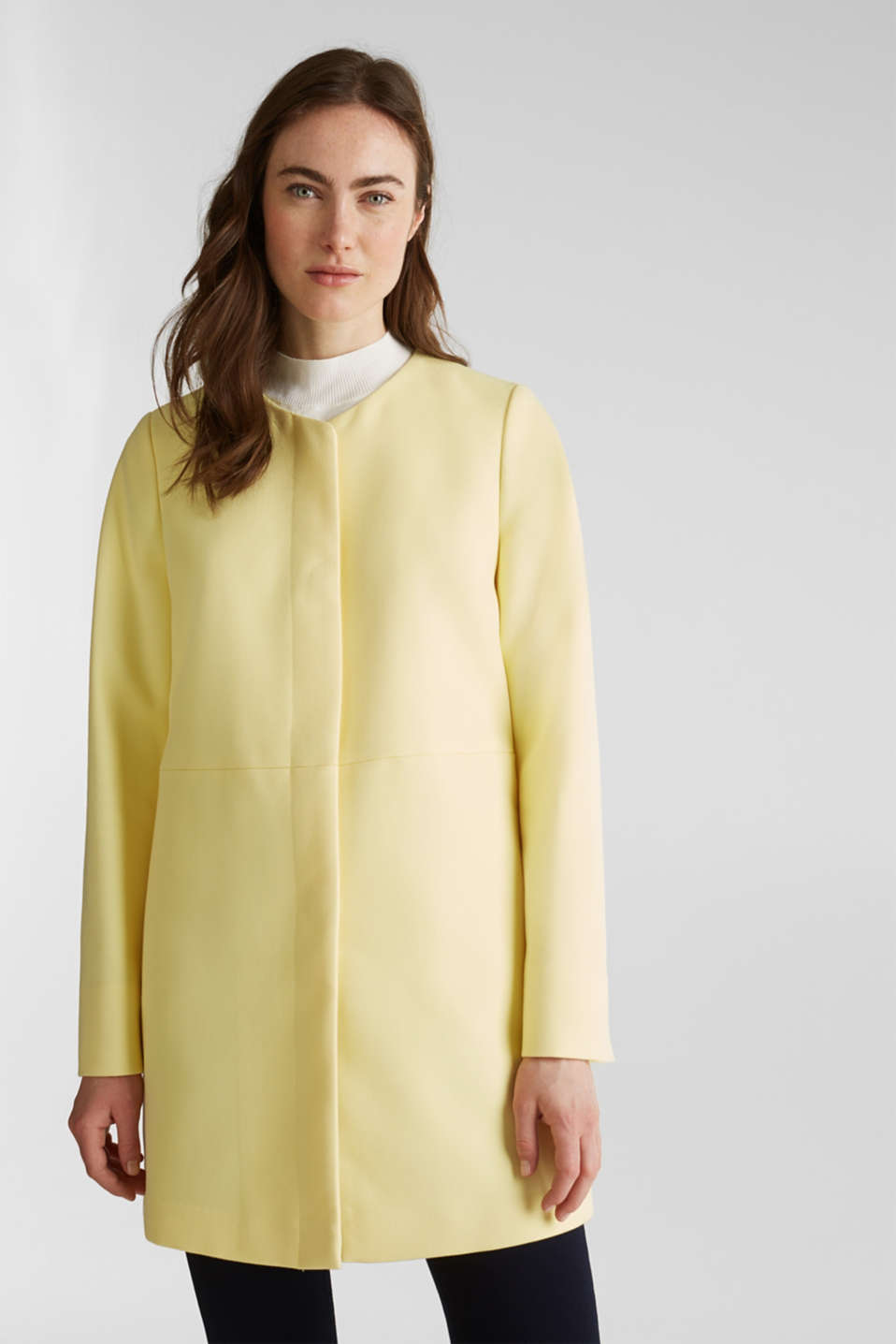 Coat with piqué texture, LIME YELLOW, detail image number 0