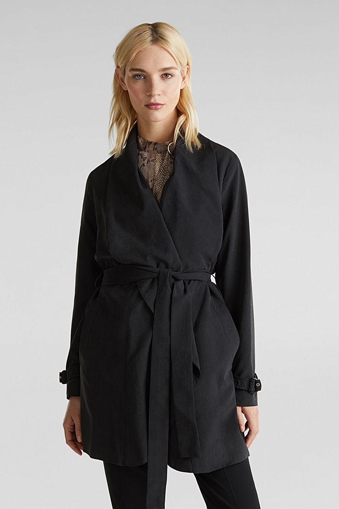 Mantel met sjaalkraag en perzikzachte touch, BLACK, detail image number 0