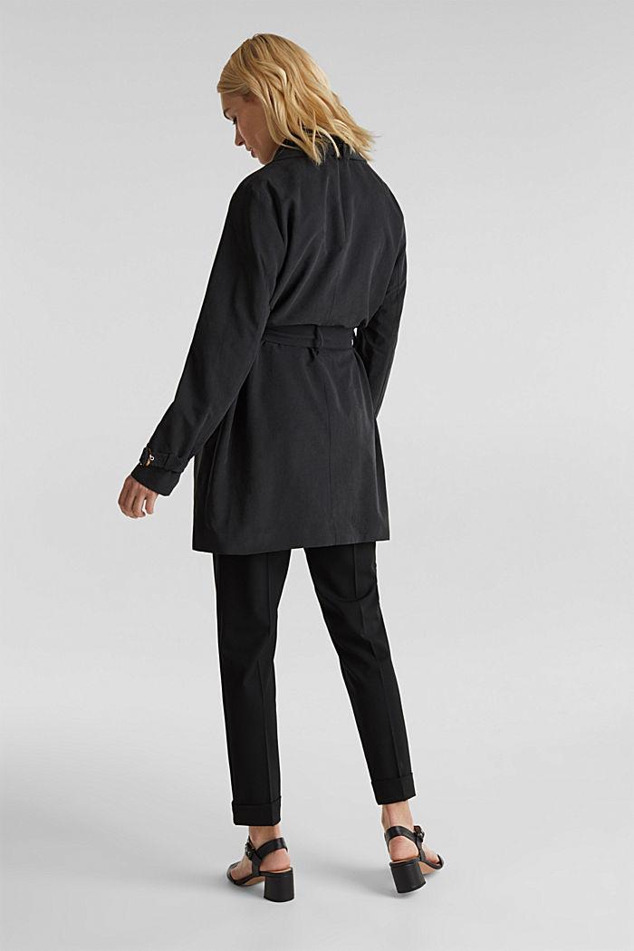 Mantel met sjaalkraag en perzikzachte touch, BLACK, detail image number 3