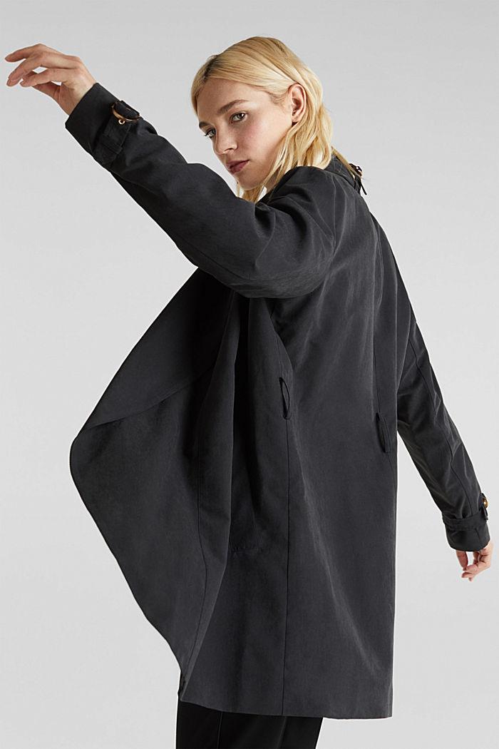 Mantel met sjaalkraag en perzikzachte touch, BLACK, detail image number 5