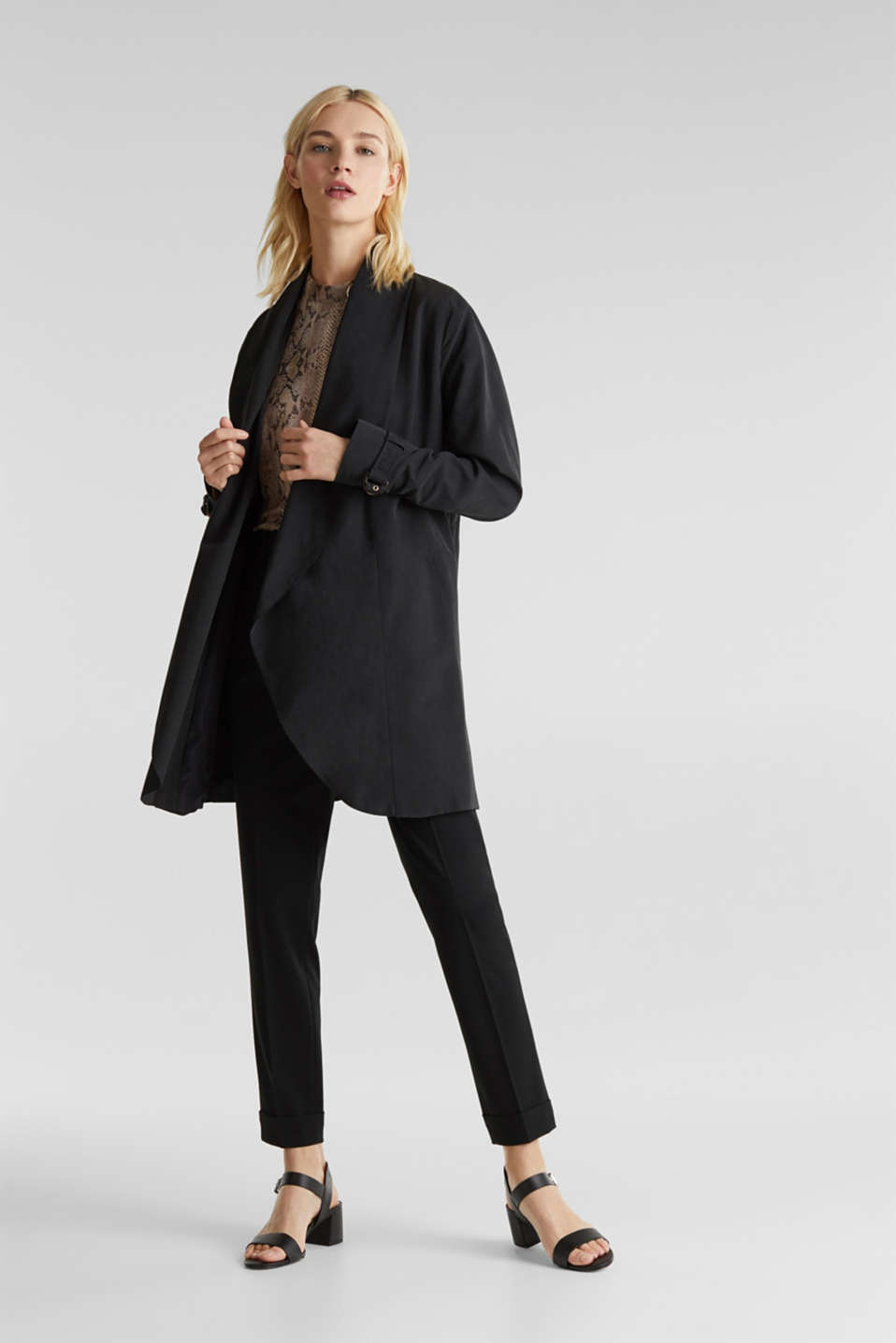 Coat with shawl collar and peached texture, BLACK, detail image number 1