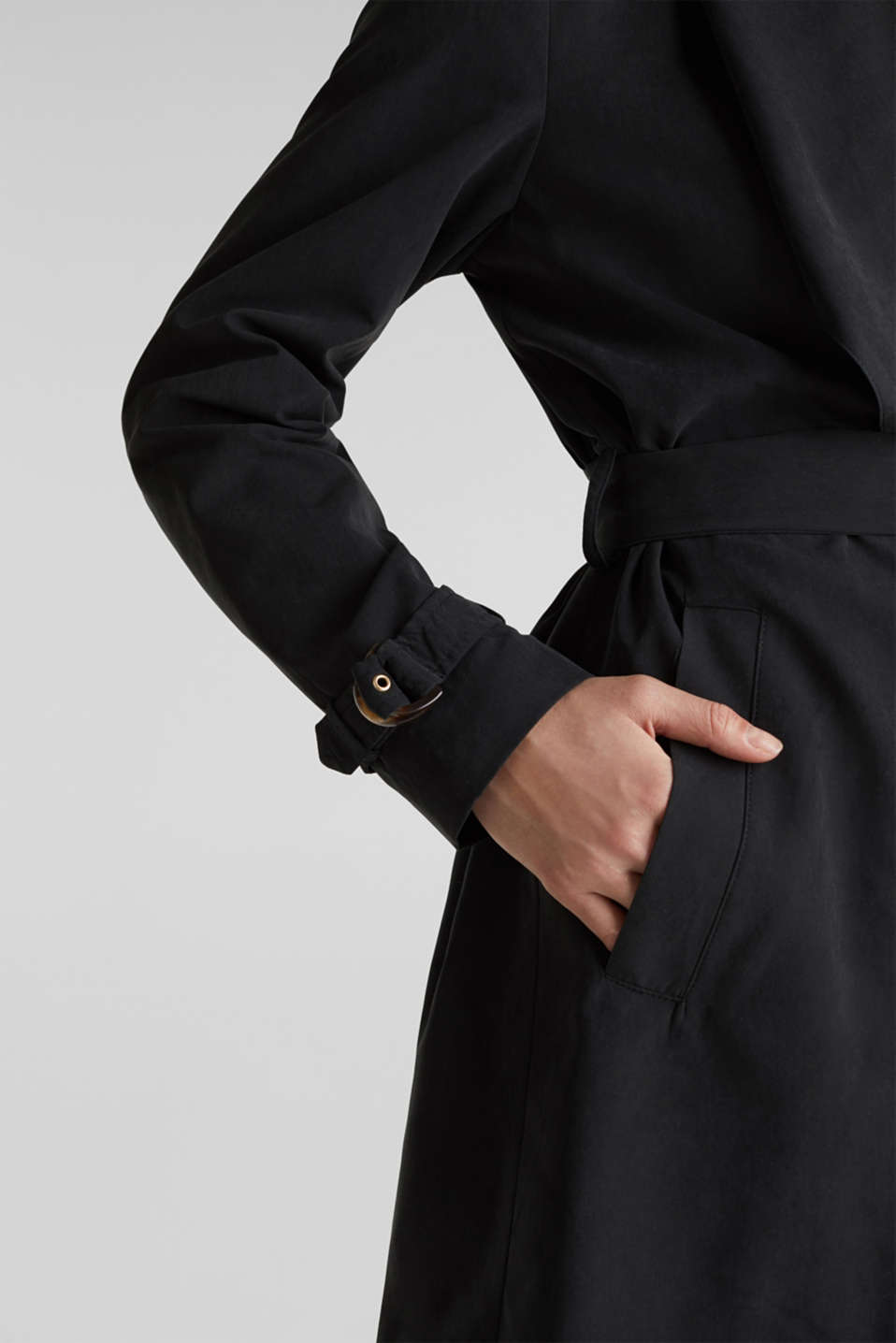 Coat with shawl collar and peached texture, BLACK, detail image number 2