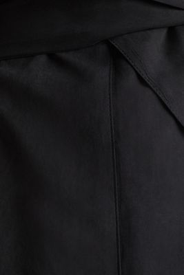 Coat with shawl collar and peached texture, BLACK, detail