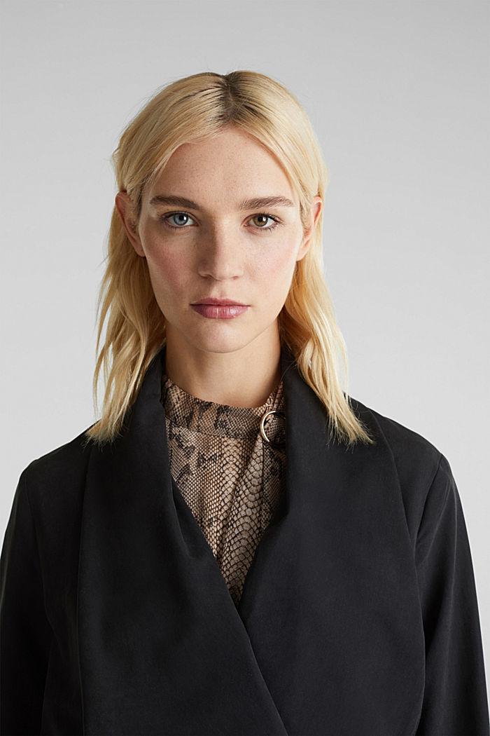 Mantel met sjaalkraag en perzikzachte touch, BLACK, detail image number 6
