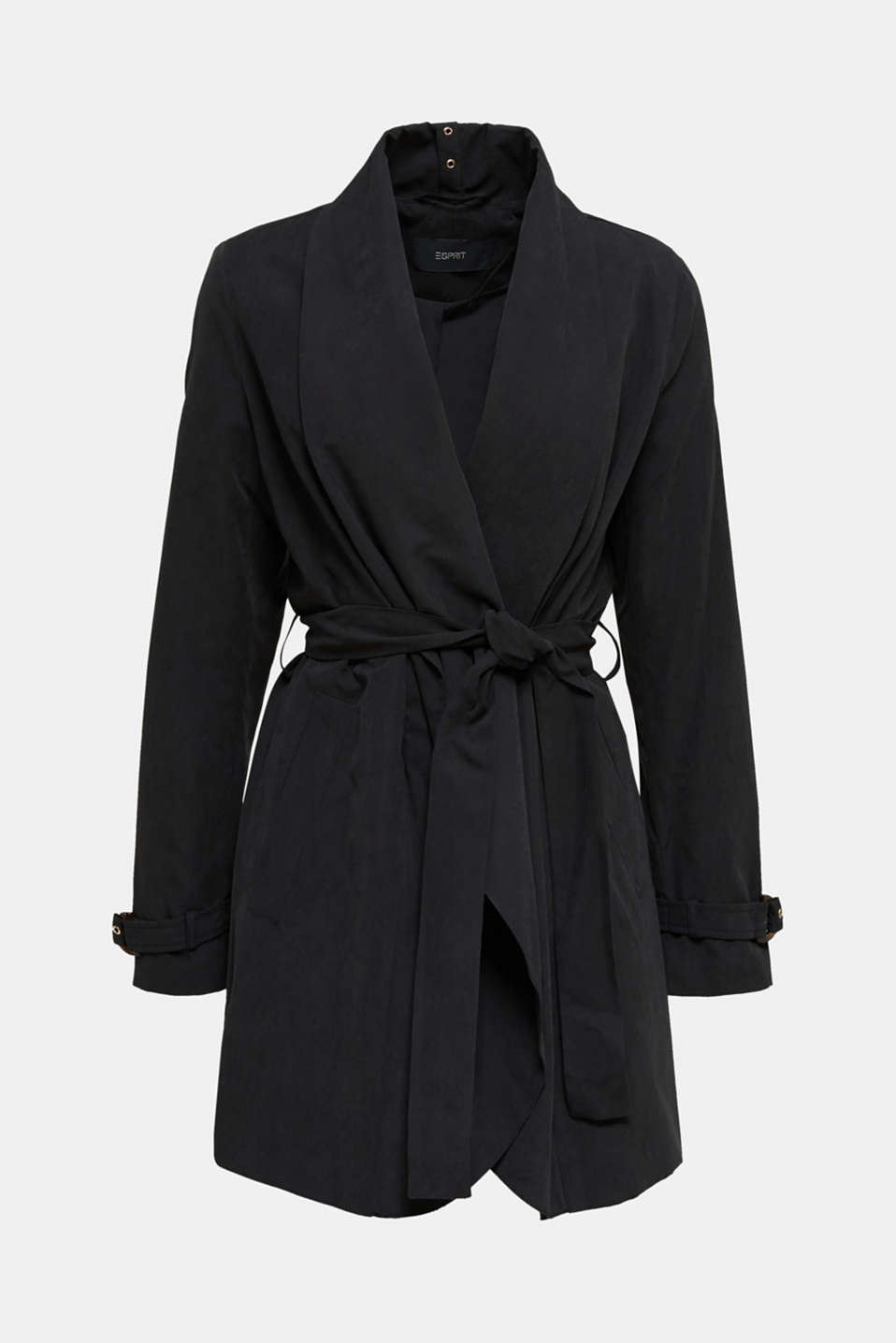 Coat with shawl collar and peached texture, BLACK, detail image number 7