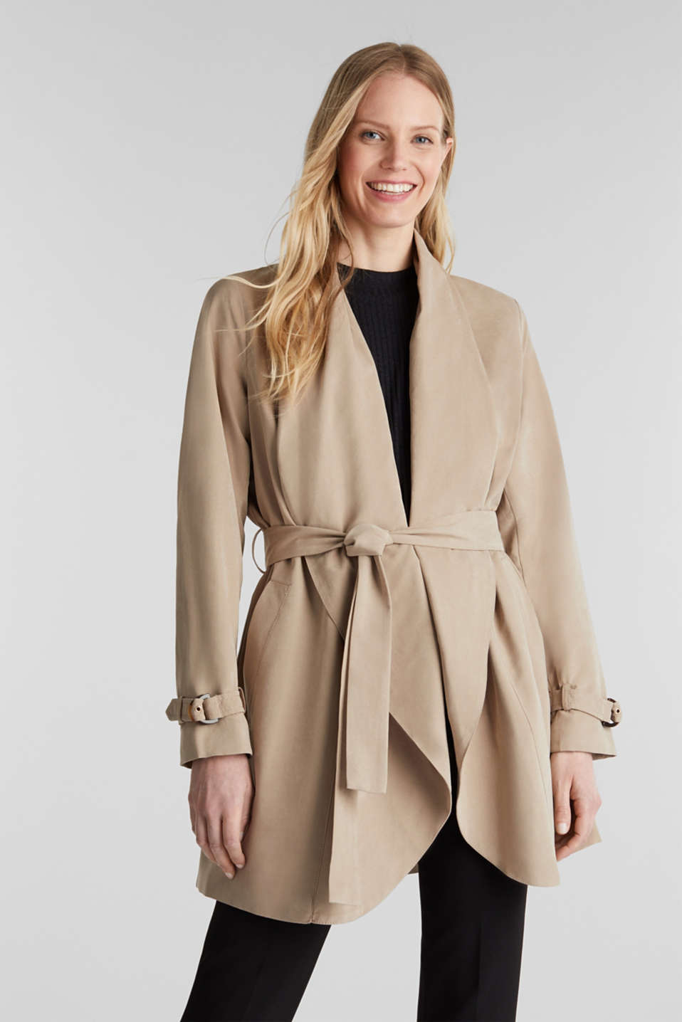 Esprit - Coat with shawl collar and peached texture