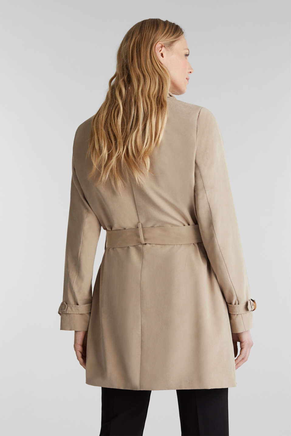 Coat with shawl collar and peached texture, BEIGE, detail image number 3