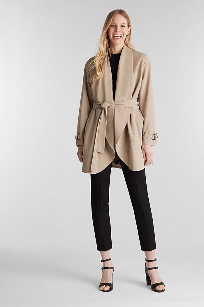 Mantel met sjaalkraag en perzikzachte touch, BEIGE, detail image number 1