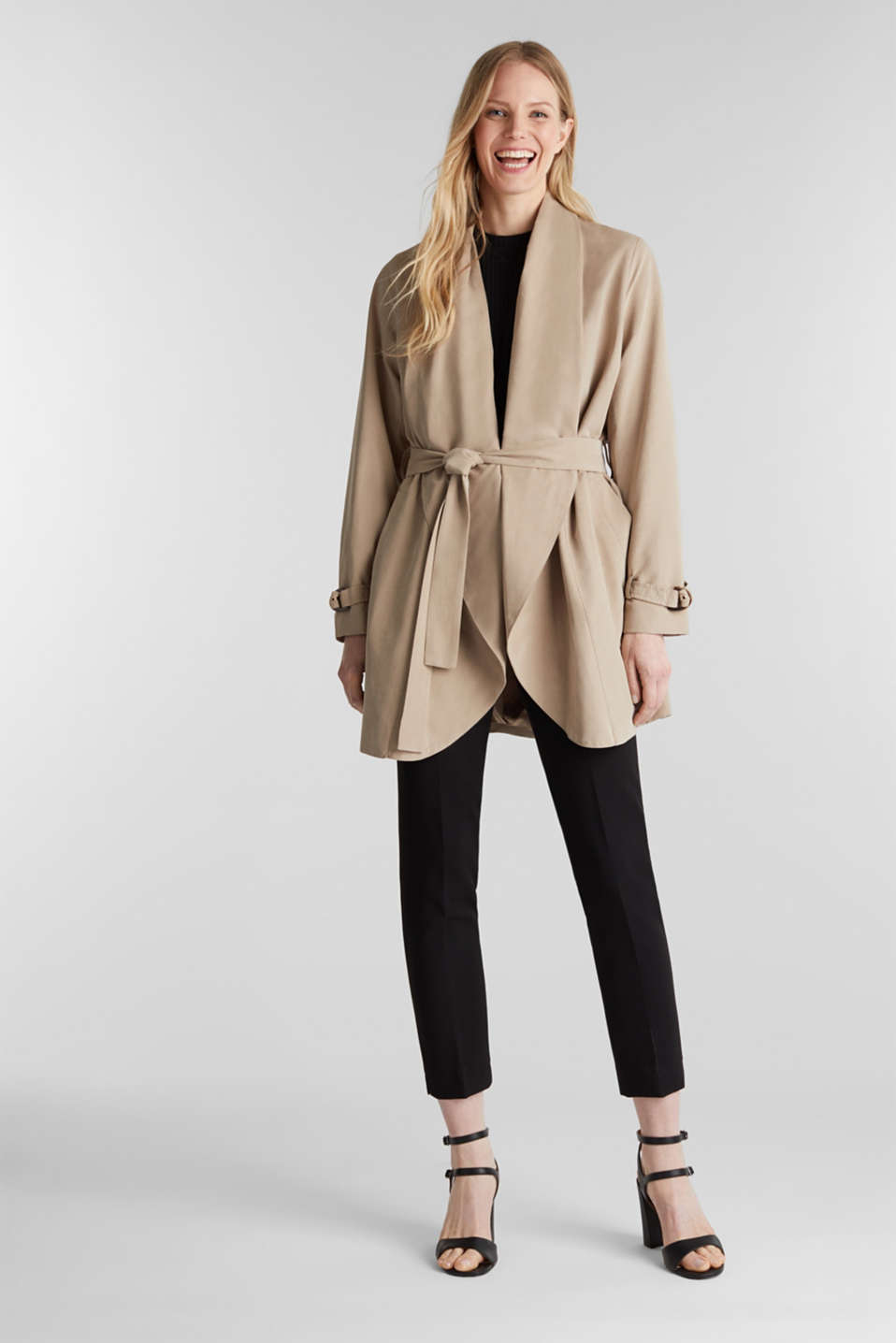 Coat with shawl collar and peached texture, BEIGE, detail image number 1