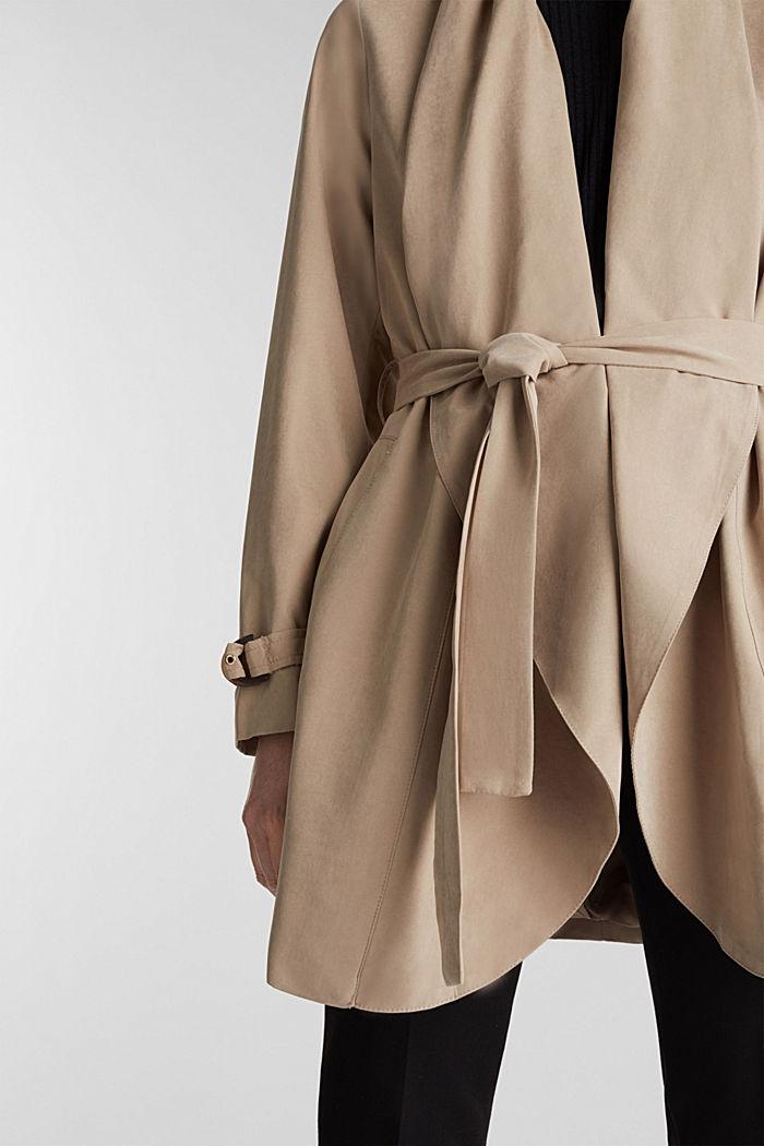 Mantel met sjaalkraag en perzikzachte touch, BEIGE, detail image number 2