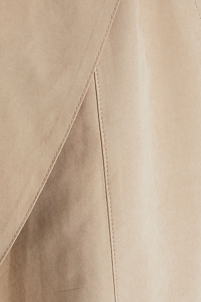 Mantel met sjaalkraag en perzikzachte touch, BEIGE, detail image number 4