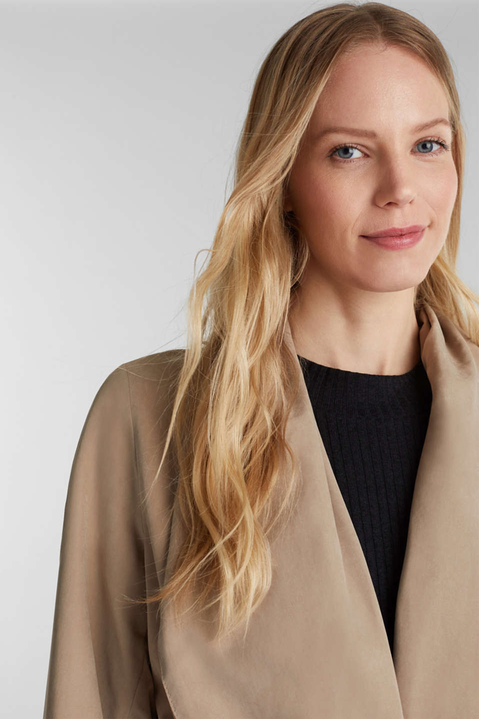 Coat with shawl collar and peached texture, BEIGE, detail image number 5