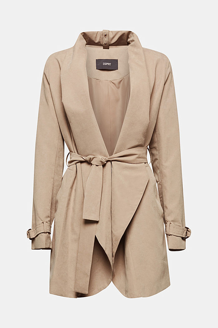 Coat with shawl collar and peached texture