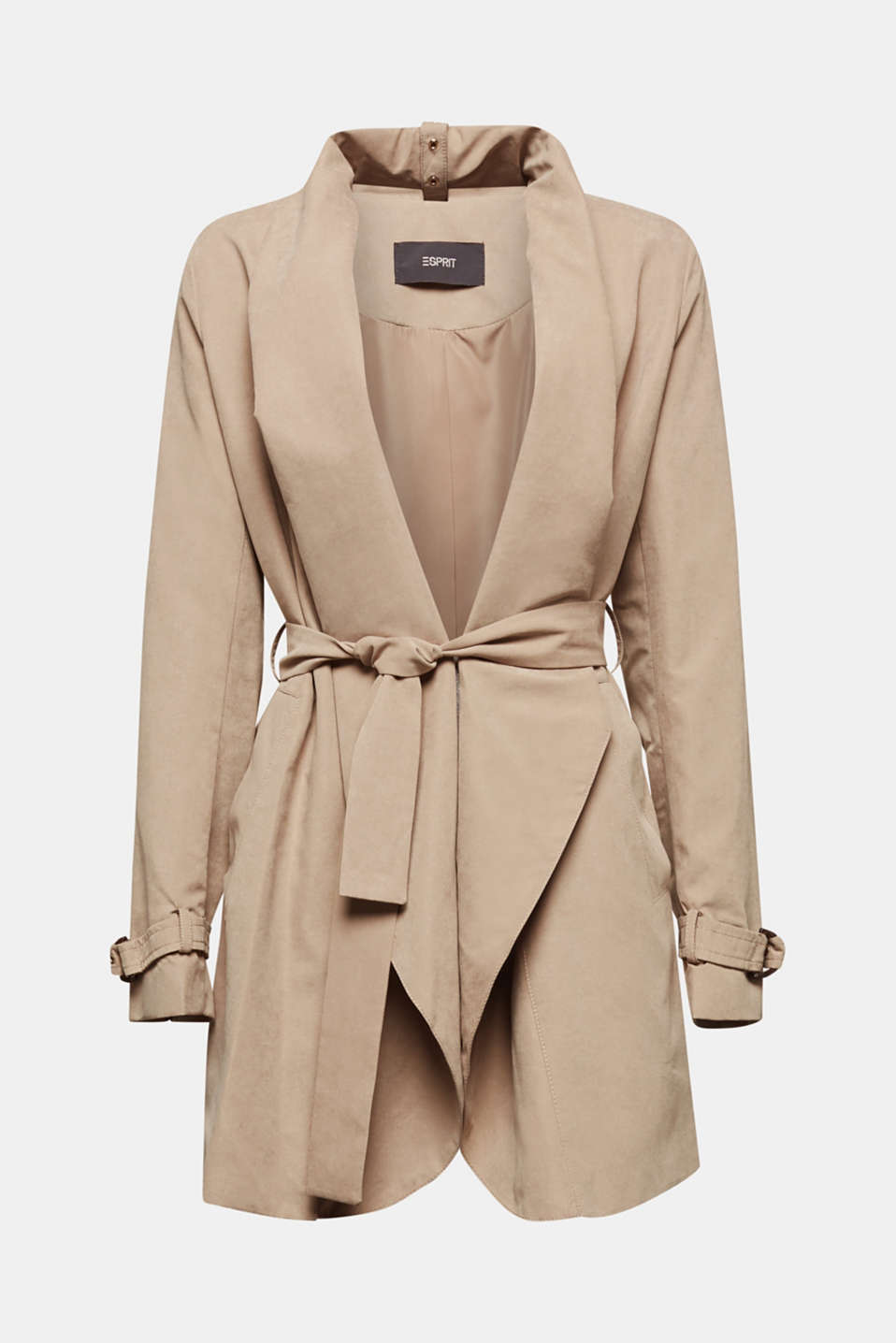 Coat with shawl collar and peached texture, BEIGE, detail image number 6