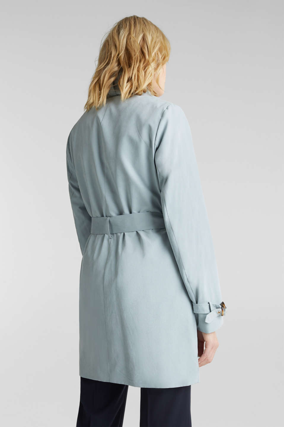 Coat with shawl collar and peached texture, GREY BLUE, detail image number 3