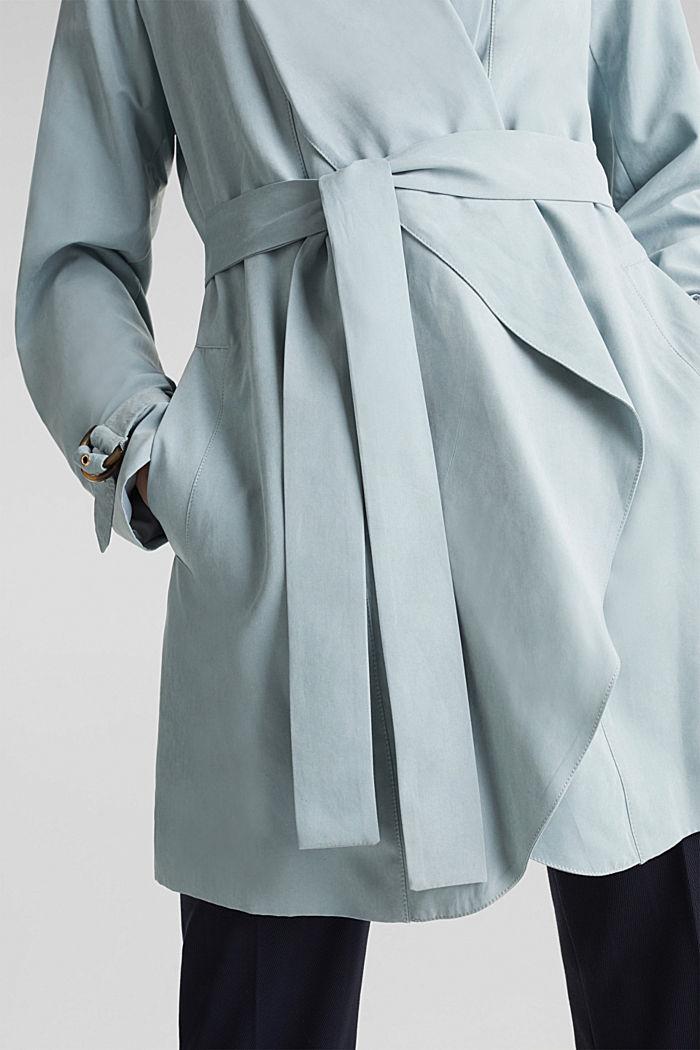 Schalkragen-Mantel mit Peach-Touch, GREY BLUE, detail image number 2