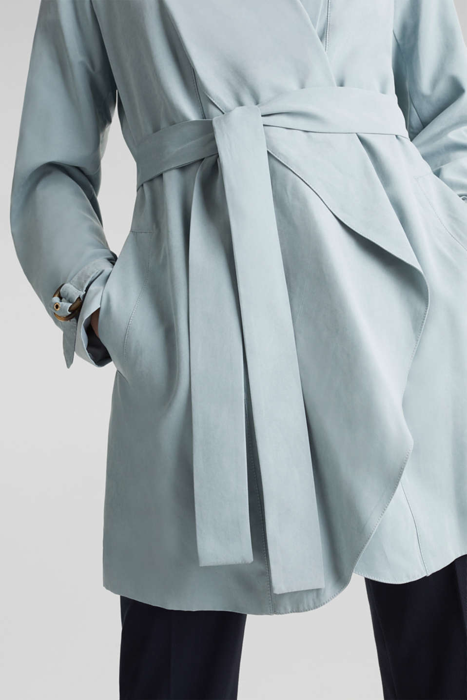 Coat with shawl collar and peached texture, GREY BLUE, detail image number 2