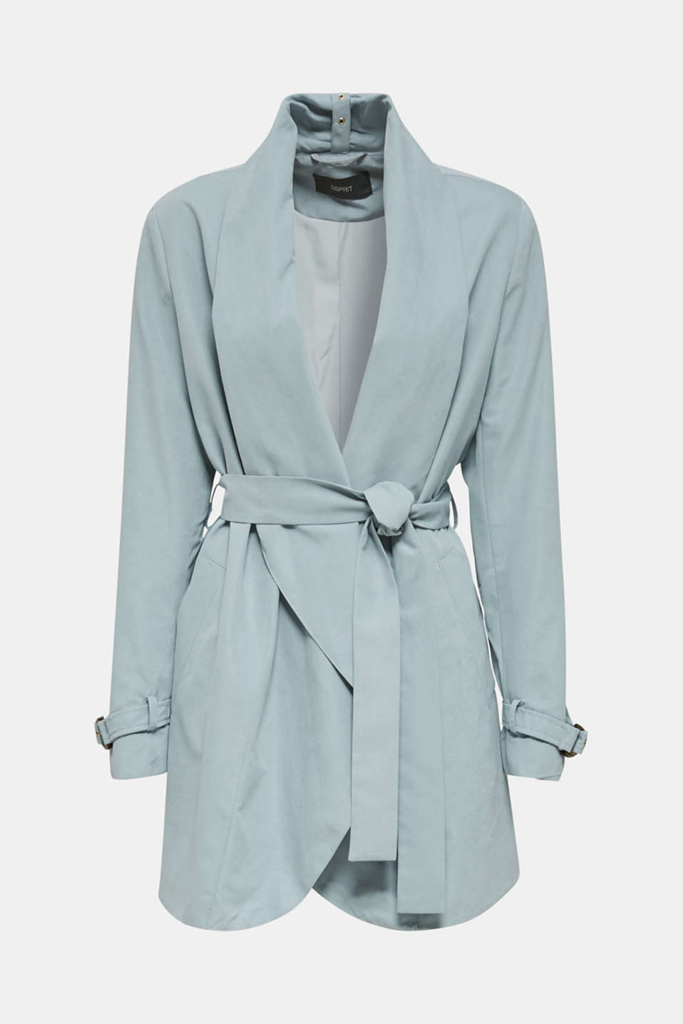 Coat with shawl collar and peached texture, GREY BLUE, detail image number 6