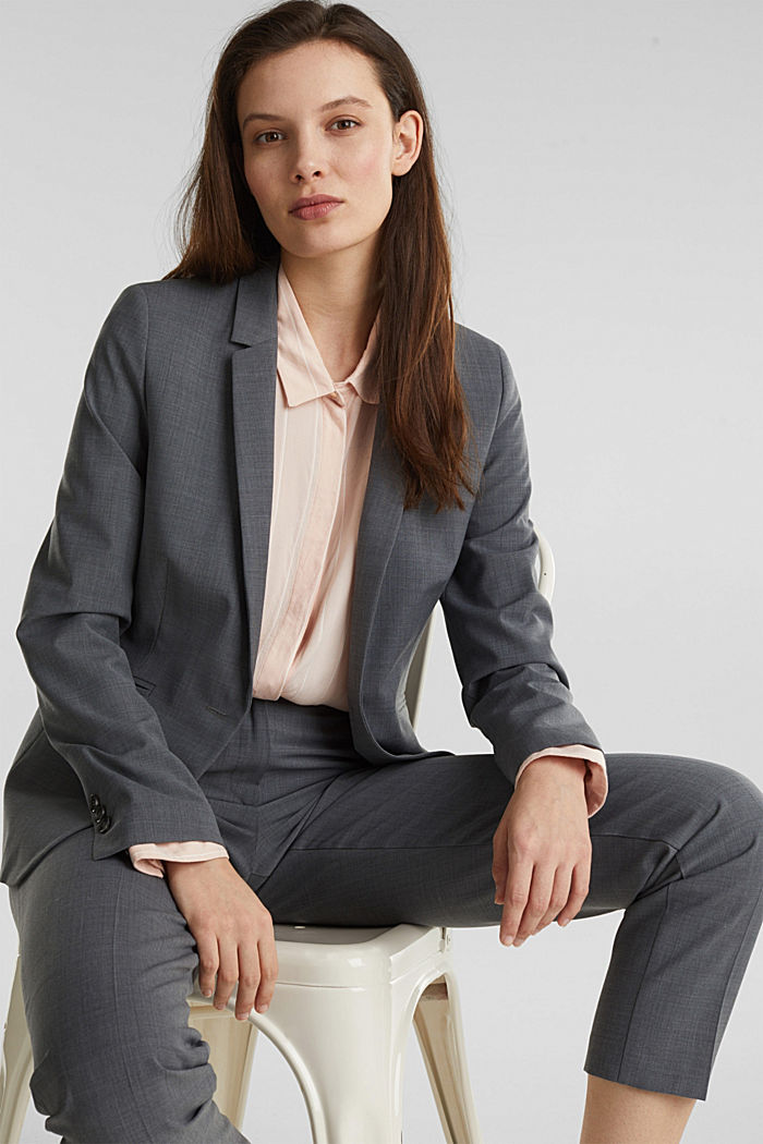 With wool: ACTIVE mix + match stretch blazer, GREY, detail image number 6