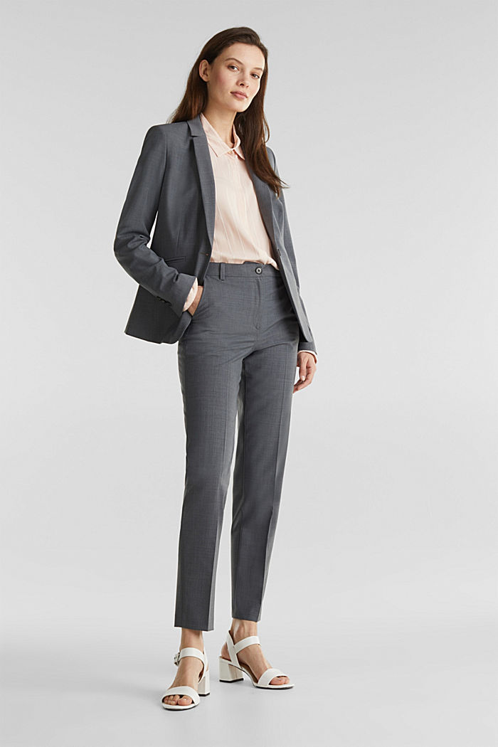 With wool: ACTIVE mix + match stretch blazer, GREY, overview